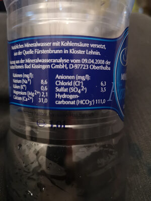 Fürstenbrunn Selection Mineralwasser - Ingredienti - de
