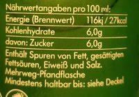LemonAid, Limette - Informations nutritionnelles