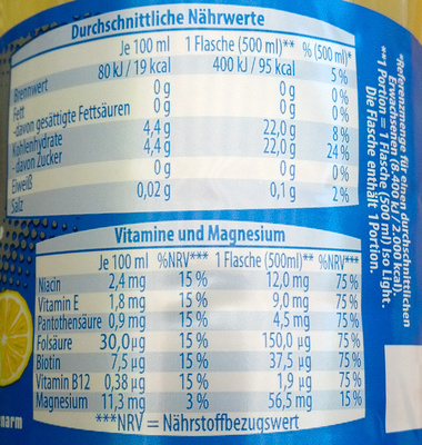 Iso Light Grapefruit-Citrus - Informations nutritionnelles