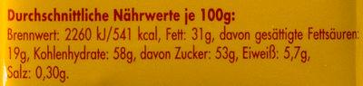 Ritter Sport Knusperflakes - Nährwertangaben