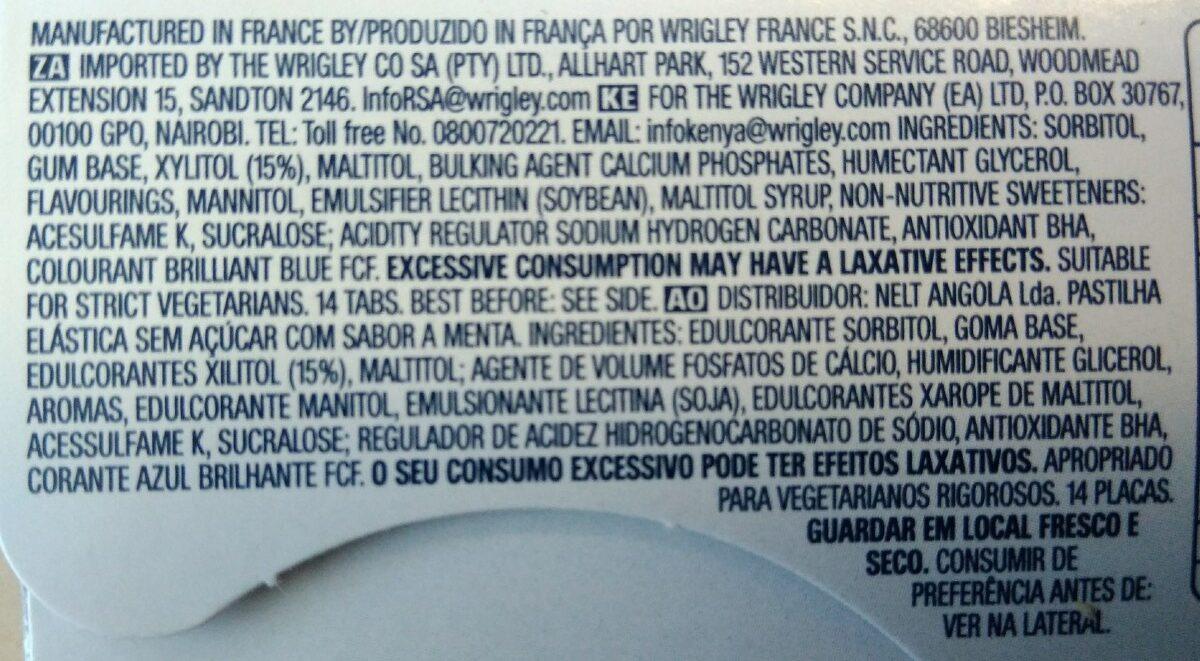 Wrigley's Orbit Professional White Chewing Gum - Spearmint - Ingredients - en