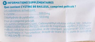 Cystine B6 - Ingredients - fr