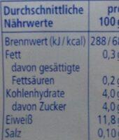 Speisequark Magerstufe - Informations nutritionnelles - fr