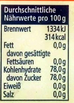 Belegkirschen - Nährwertangaben