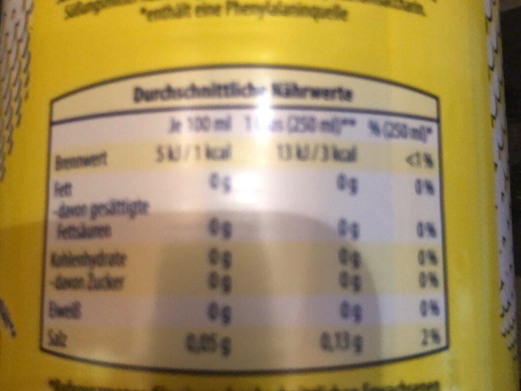 Zitrone0% Zucker Kopie - Nutrition facts - de