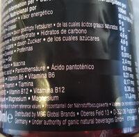 Ganíc vitamin water - Valori nutrizionali - en