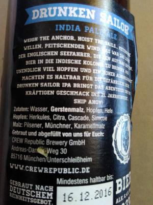 Crew republic drunken sailor - Ingrédients