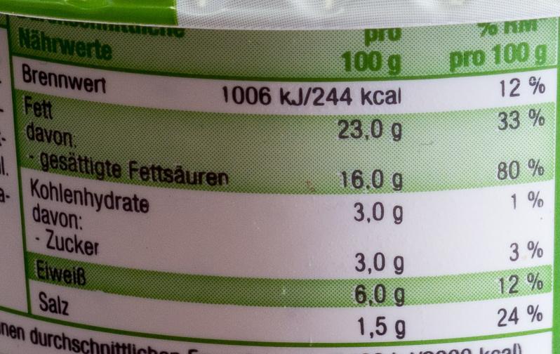 Französische Kräuter - Valori nutrizionali - de