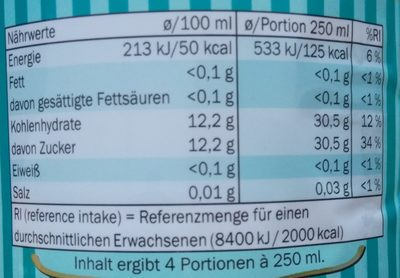 Real Bitter Lemon - Nährwertangaben