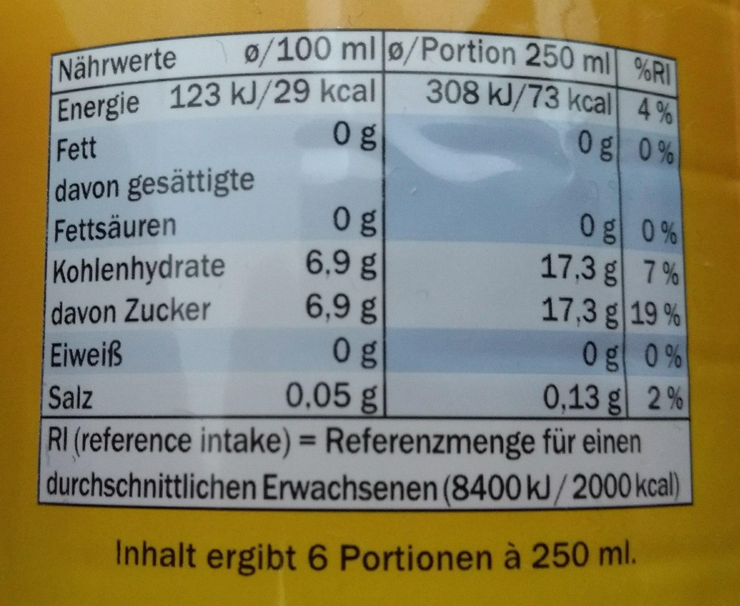 Eistee Zitrone - Nährwertangaben