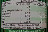 Ginger Ale - Nährwertangaben