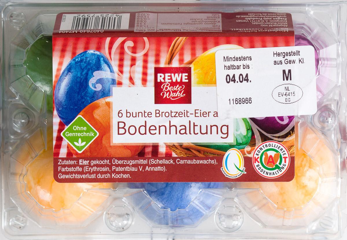 6 bunte Brotzeit-Eier aus Bodenhaltung - Product