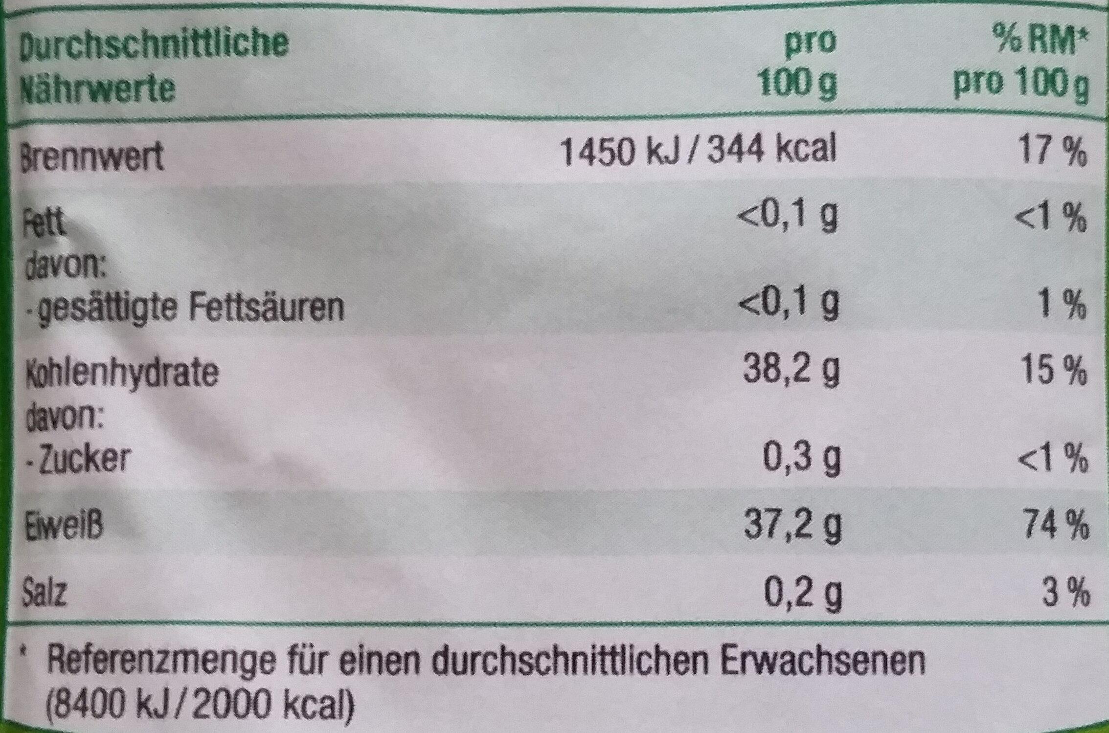 Trockenbackhefe - Nutrition facts