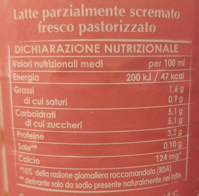 latte fresco parzialmente scremato - Informations nutritionnelles - it