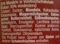 Vollmilchschokoladendragees Mandel - Inhaltsstoffe