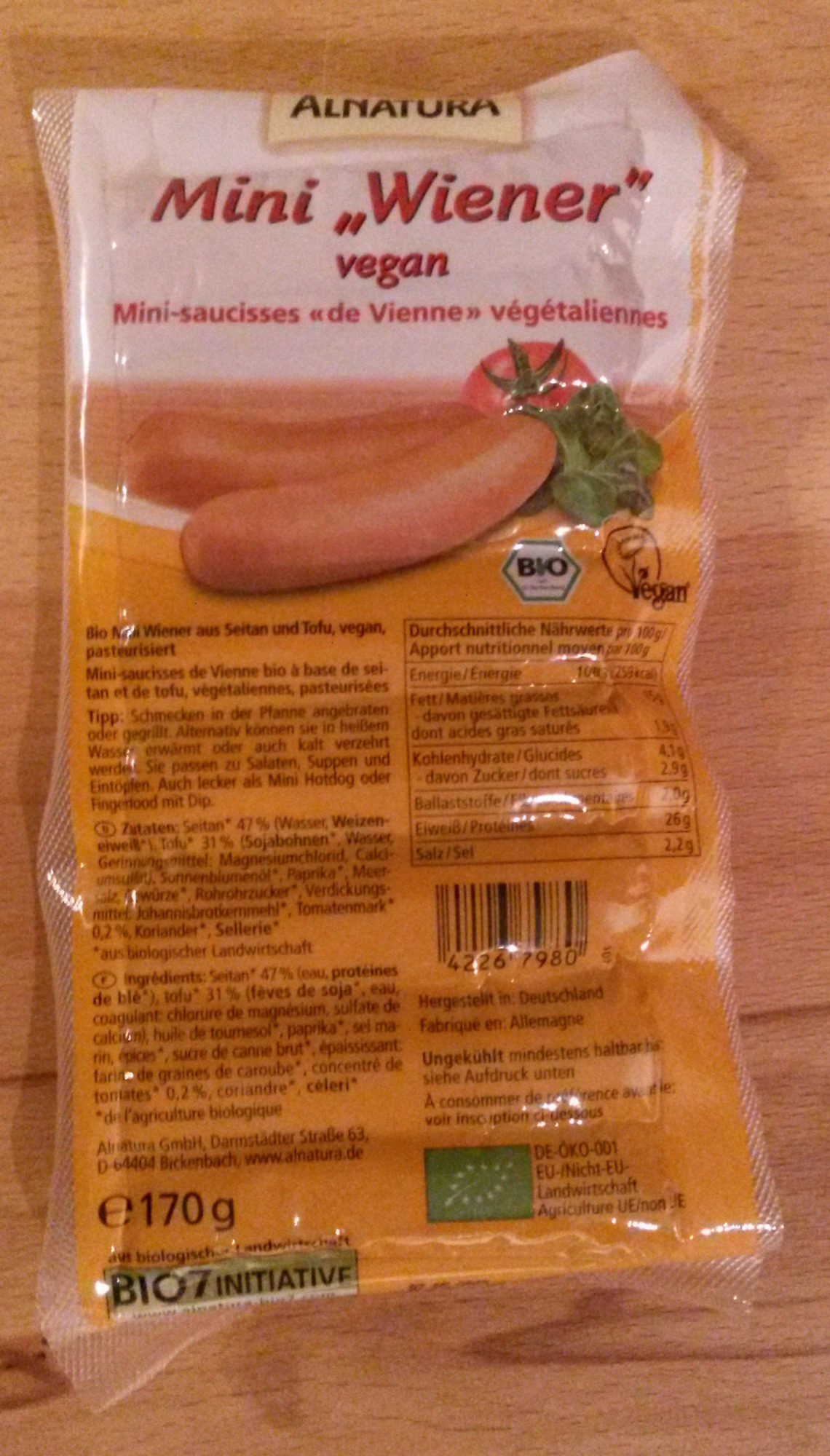 "Mini ""Wiener"" vegan - Product"