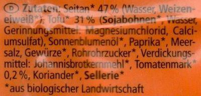 """Mini """"Wiener"""" vegan - Ingredients - de"""