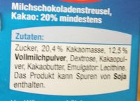 Milchschokoladenstreusel - Ingredients