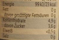 Perlenbacher  Extra Herbes Alkoholfrei - Valori nutrizionali - de