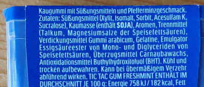 Tic tac gum - Inhaltsstoffe - de