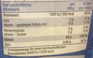 Gelatine - Informação nutricional