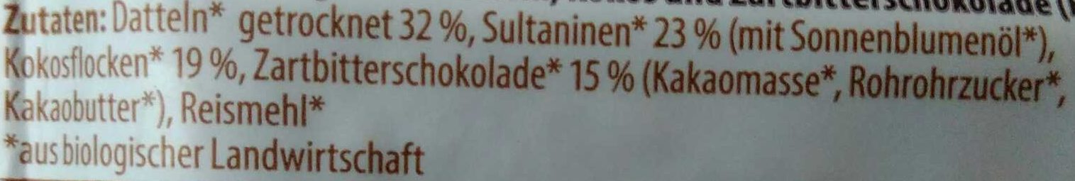 Bio Fruchtriegel Schoko Kokos - Ingrédients - de