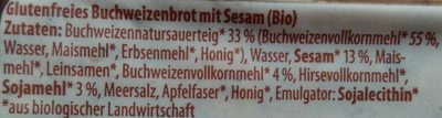 Bio Buchweizenbrot - Ingrédients