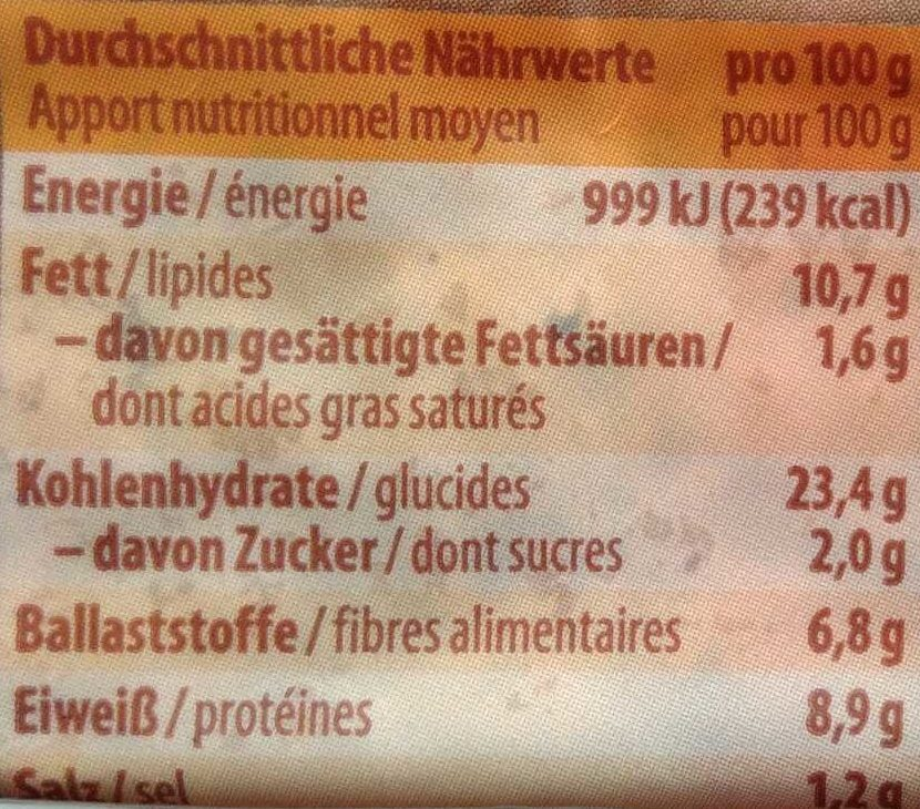 Bio Buchweizenbrot - Informations nutritionnelles - de