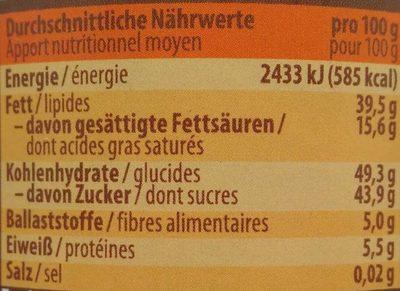 Bio Nuss Nougat Creme - Informations nutritionnelles