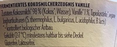 Coconut Milk Yoghurt Alternative Vanille - Ingredienti