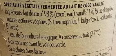 Coconut Milk Yoghurt Alternative Vanille - Ingrédients - fr