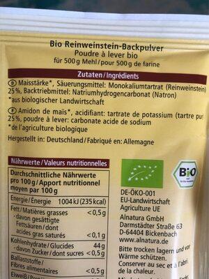 Backpulver Reinweinstein - Ingredients