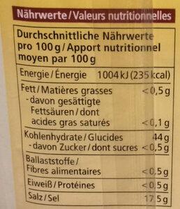 Backpulver Reinweinstein - Nutrition facts