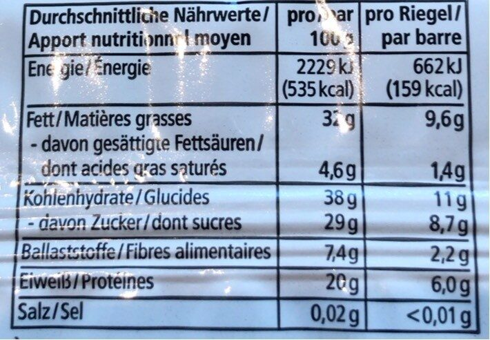 Erdnuss krokant - Informations nutritionnelles - fr