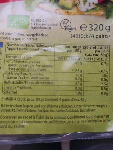 Pita Alnatura - Informations nutritionnelles