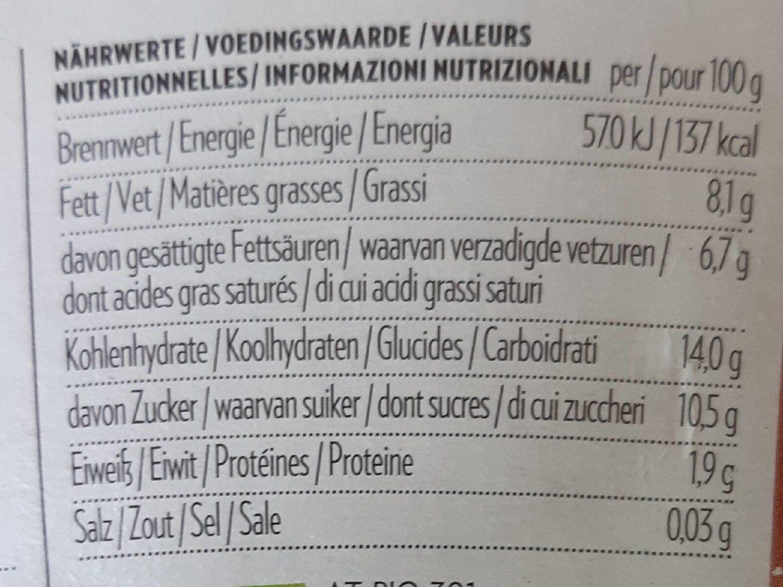 Harvest Moon Coconut Milk Yoghurt Alternative Chocolate - Informations nutritionnelles - de