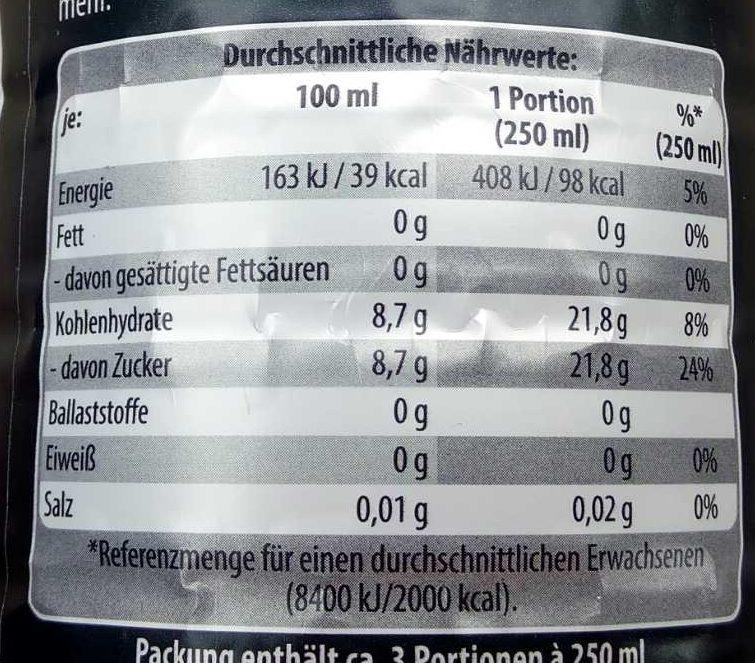 schwarze Limonade Johannisbeere & Guaranaextrakt - Voedingswaarden