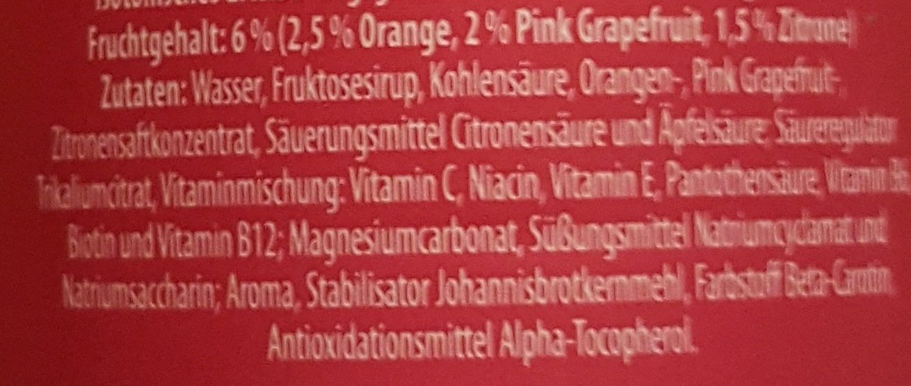 iSO light Pink Grapefruit - Ingrédients - de
