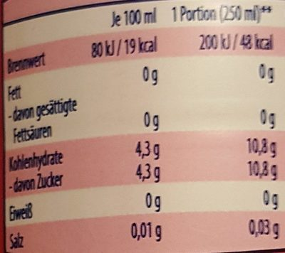 iSO light Pink Grapefruit - Informations nutritionnelles