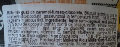 Mullermilch Bautura lactata cu gust de caramel-fursec-ciocolata - Inhaltsstoffe - ro