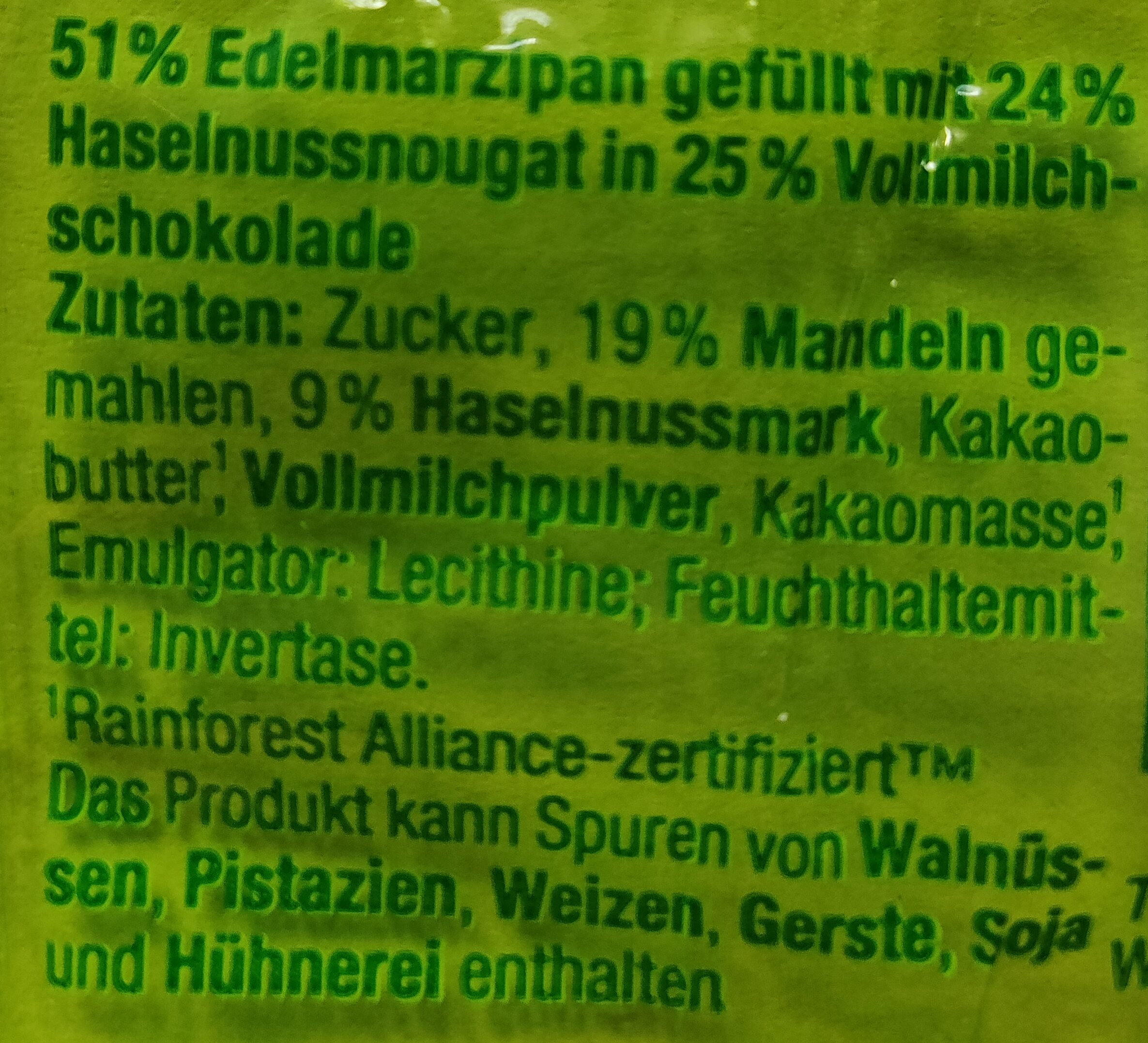 Edel Marzipan-Ei mit Nougat - Ingredienti - de