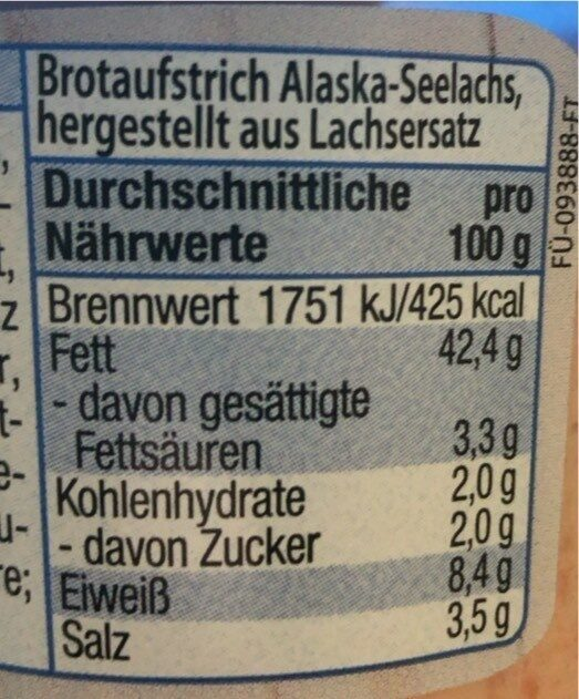 Brotaufstrich Alaska-Seelachs - Valori nutrizionali - de