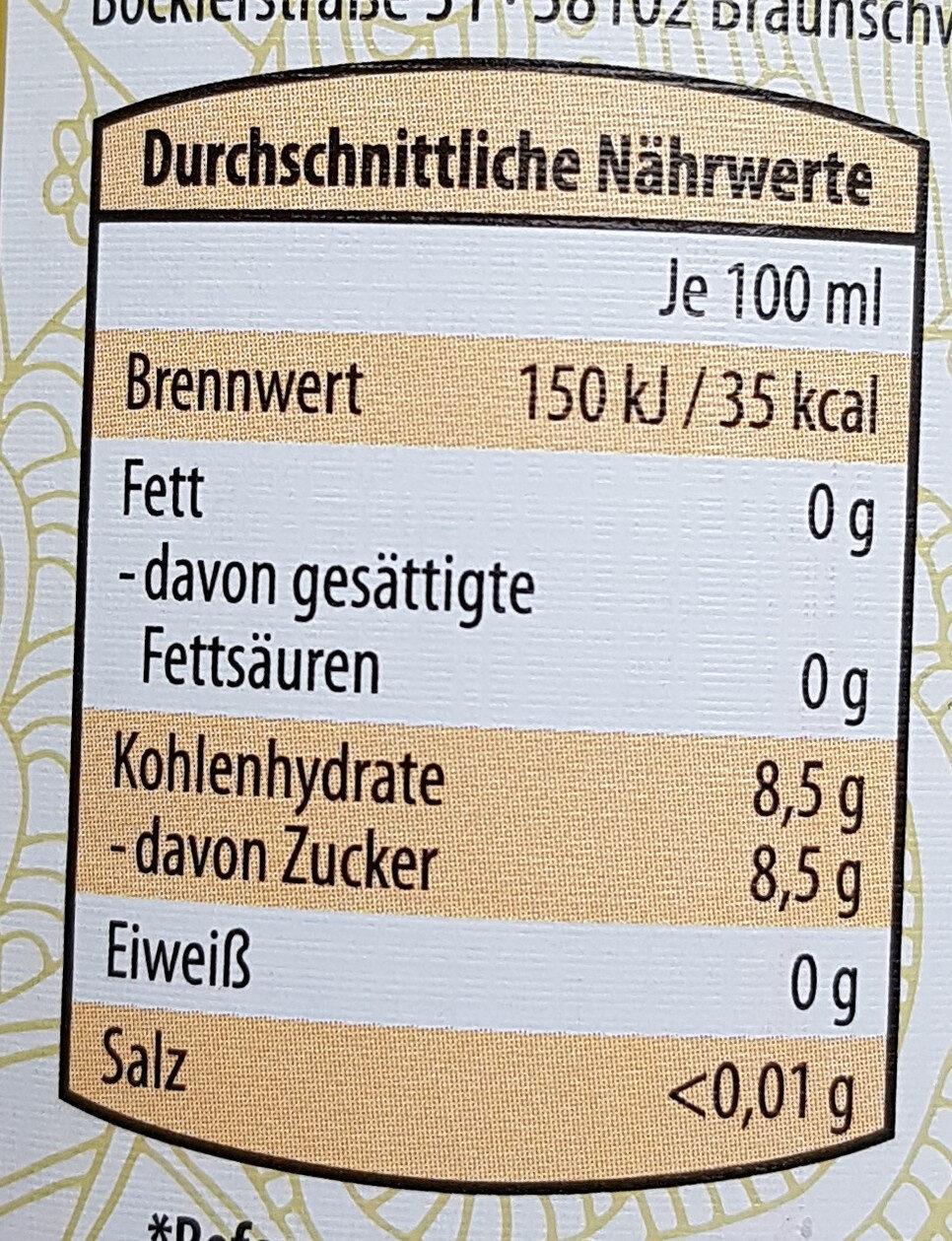 BIO Limonade mit Orangengeschmack - Informations nutritionnelles