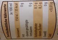 BIO Limonade mit Orangengeschmack - Voedingswaarden - de
