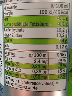 Energy Drink Fruity Power Typ Apfel - Nährwertangaben