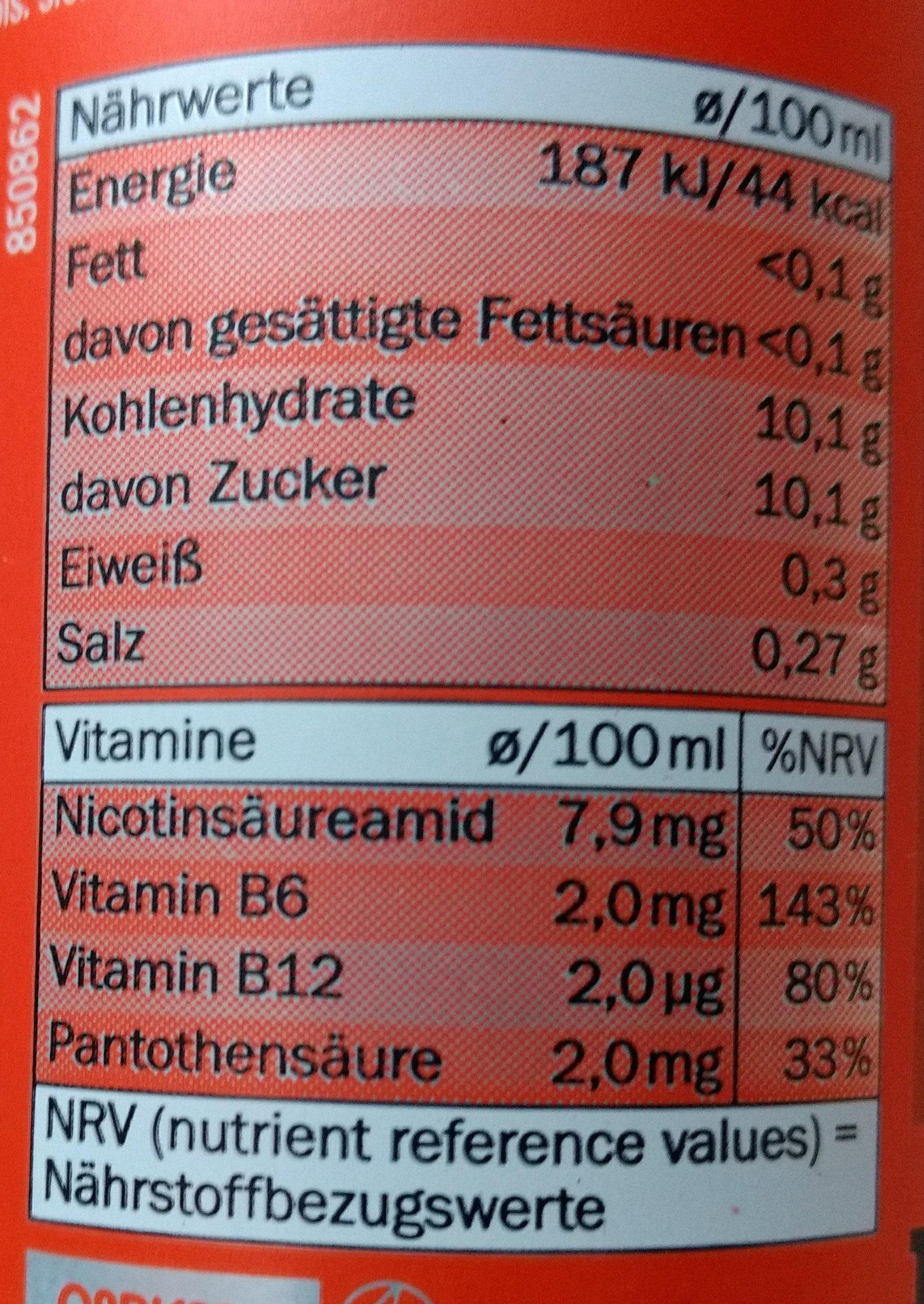 Wild Power XL - Nutrition facts - de