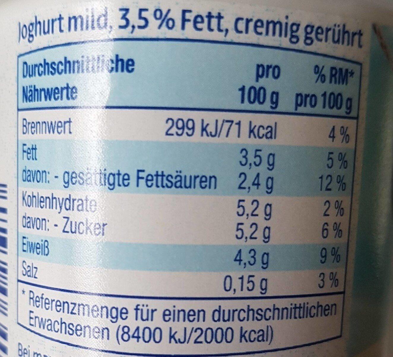 Joghurt mild - Nutrition facts - de