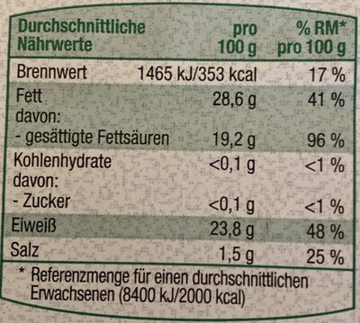 Bio Gouda in Scheiben - Informazioni nutrizionali - de