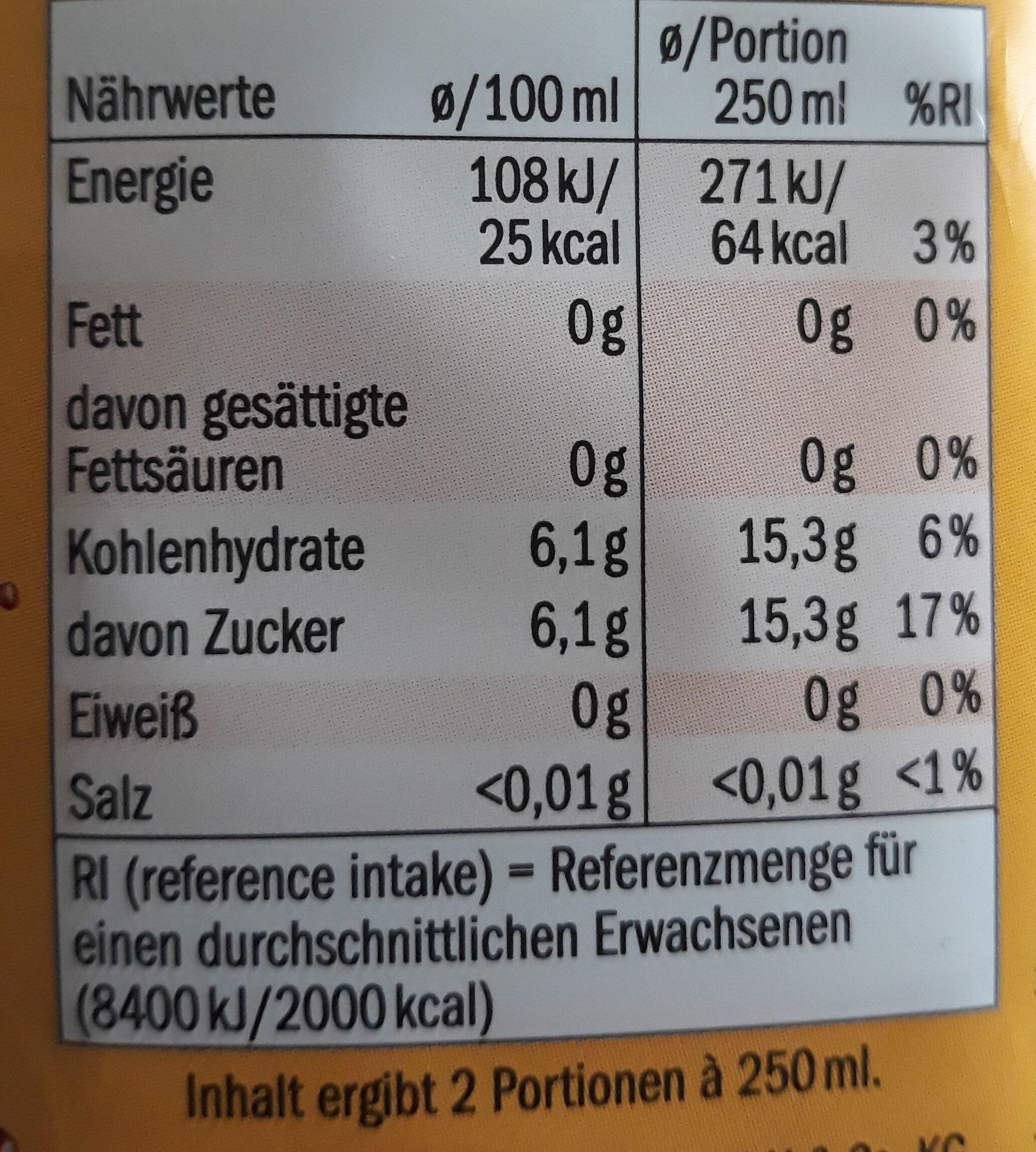 Juicy orange-mango - Nutrition facts - de