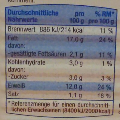 Fischbüchse Heringsfilets in Senf-Dijon-Creme - Valori nutrizionali - de